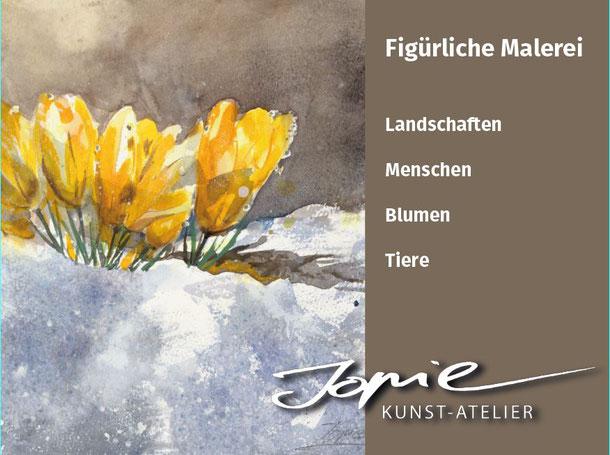 Krokus, Blumenaquarelle, Landschaftsmalerei von Jopie