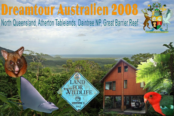 Die letzte Etappe unserer Dreamtour Australien 2008 - NQL, Atherton Tablelands (Tarzali Tree Houses), Daintree NP und Great Barrier Reef