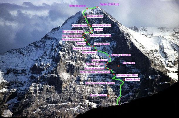 Quelle: wikipedia - Die Heckmair Route von 1938 mit Harrer, Vörg und Kasparek