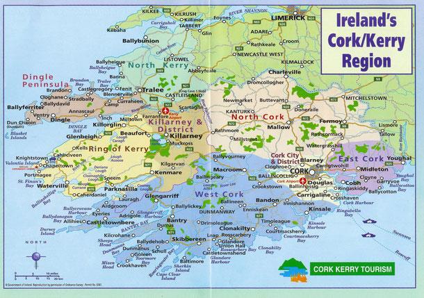 Auf der Karte sind die Grafschaften Kerry und Cork zu sehen. Von dieser Region werden meine Fotogalerien schöne Details zeigen.  X - unser Urlaubsstandort