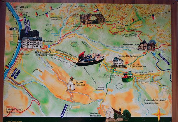 Das ist die Orientierungstafel zur unten beschriebenen Wanderung in der Böhmischen Schweiz