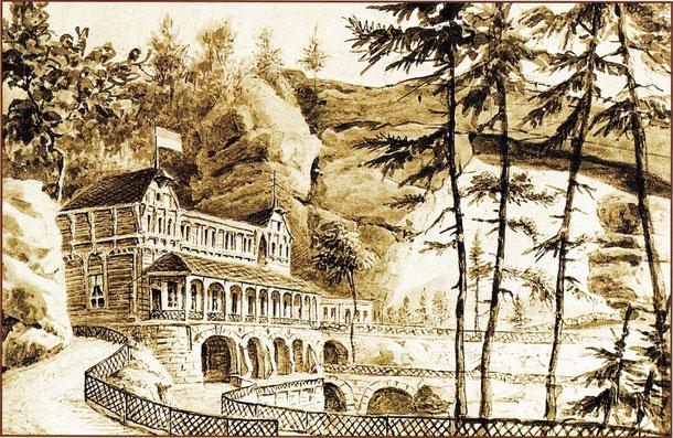 """Restaurant """"Falkennest"""" und das Prebischtor, gemalt von G. Täubert (1817-1913) nach 1881"""