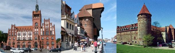 1. Rathaus von Slupsk (Stolp)  -  2. Krantor von Gdańsk (Danzig)  -  3. Burg/Schloss von Bytów (Bütow)