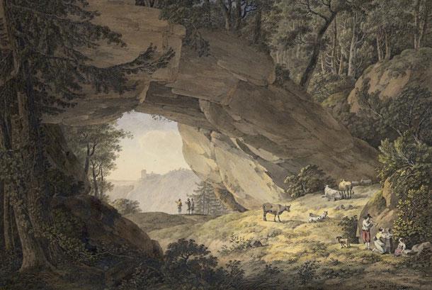Quelle: wikipedia- Der Kuhstall bei Bad Schandau in der Nähe des Lichtenhainer Wasserfalls von Adrian Zingg 1786