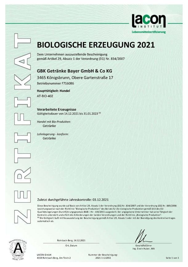 GBK Getränke Bayer GmbH & CoKG Biologische Erzeugung 2020 BIO Zertifikat