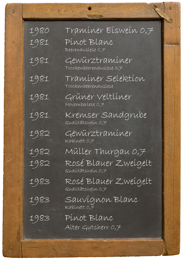 Jahrgangswein 1980 1981 1982 1983 1984 1985 1986 1987 1988 1989 Getränke Bayer Königsbrunn am Wagram