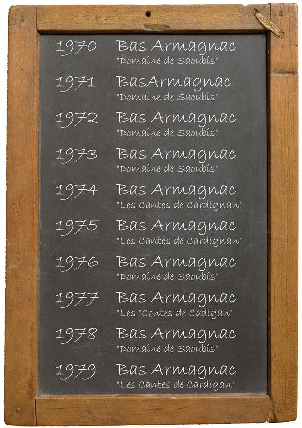"""1970 Bas Armagnac """"Domaine de Saoubis"""" 1971BasArmagnac """"Domaine de Saoubis""""1972 Bas Armagnac """"Domaine de Saoubis""""1973 Bas Armagnac """"Domaine de Saoubis""""1974 Bas Armagnac """"Les Cantes de Cardignan""""1975 Bas Armagnac """"Les Cantes de Cardignan""""1976 Bas Armagnac"""