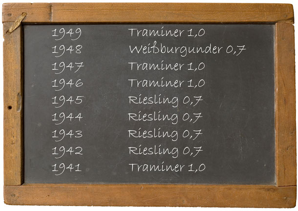 1949 Traminer 1948 Weißburgunder 1947 Traminer 1946 Traminer 1945 Riesling 1944 Riesling 1943 Riesling 1942 Riesling 1941 Tramine Getränke Bayer Königsbrunn am Wagram