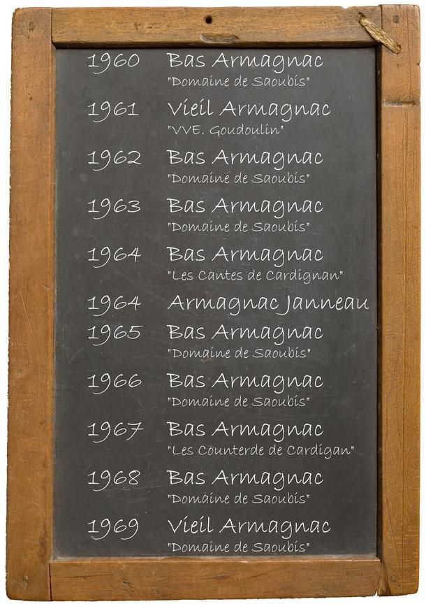 """1960  Bas Armagnac """"Domaine de Saoubis""""1961Vieil Armagnac """"VVE. Goudoulin""""1962Bas Armagnac """"Domaine de Saoubis""""1963 Bas Armagnac """"Domaine de Saoubis""""1964  Bas Armagnac """"Les Cantes de Cardignan"""" 1964 Armagnac Janneau 1965 Bas Armagnac """"Domaine de Saoubis""""1"""