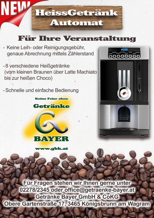 Heißgetränke Automat Getränkeparadies Getränke Bayer Königsbrunn am Wagram Tulln Getränkehandel Getränkelieferant Bier Wein Schnaps Keine Feier ohne Getränke Bayer