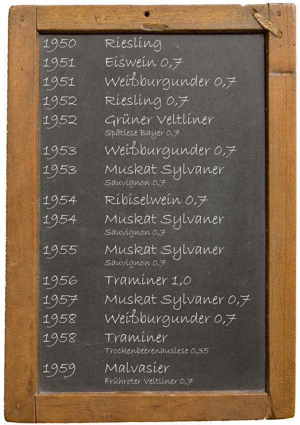 Jahrgangswein 1950 1951 1952 1953 1954 1955 1956 1957 1958 1959 Getränke Bayer Königsbrunn am Wagram