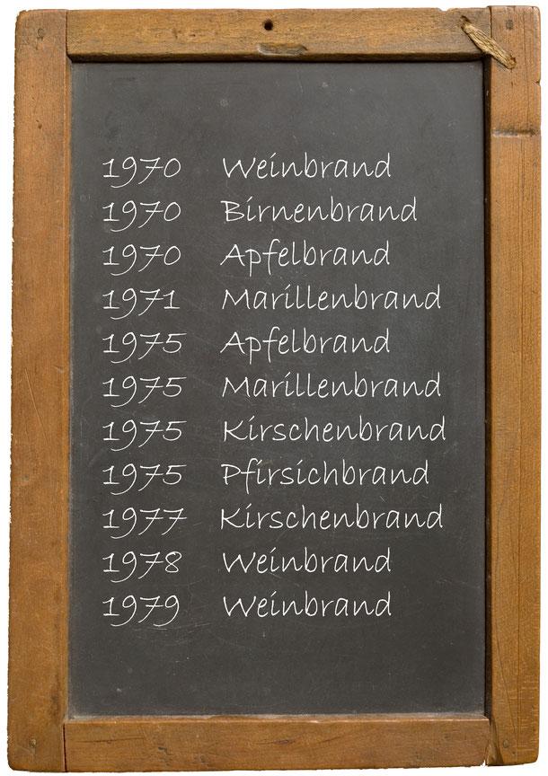 1970 Weinbrand 1970 Birnenbrand 1970 Apfelbrand 1971 Marillenbrand 1975 Apfelbrand 1975 Marillenbrand 1975 Kirschenbrand 1975 Pfirsichbrand 1977 Kirschenbrand 1978 Weinbrand 1979 Weinbrand