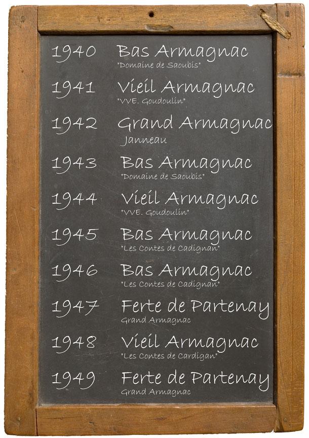 """1940 Bas Armagnac """"Domaine de Saoubis"""" 1941Vieil Armagnac """"VVE. Goudoulin"""" 1942 Grand Armagnac Janneau 1943 Bas Armagnac """"Domaine de Saoubis"""" 1944 Vieil Armagnac """"""""VVE. Goudoulin"""" 1945 Bas Armagnac """"Les Contes de Cadignan"""" 1946 Bas Armagnac """"Les Contes de"""