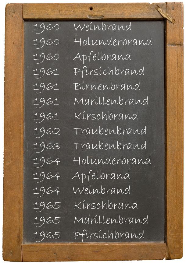 1960 Weinbrand 1960 Holunderbrand 1960 Apfelbrand 1961 Pfirsichbrand 1961 Birnenbrand 1961 Marillenbrand 1961 Kirschbrand 1962 Traubenbrand 1963 Traubenbrand 1964 Holunderbrand 1964 Apfelbrand 1964 Weinbrand 1965 Kirschbrand 1965 Marillenbrand 1965 Pfirsi