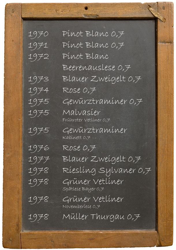 Jahrgangswein 1970 1971 1972 1973 1974 1975 1976 1977 1978 1979  Getränke Bayer Königsbrunn am Wagram