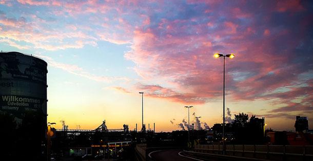 Linz Voest   Sonnenaufgang