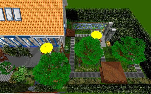 Meine Gartengestaltung am PC mittels ArcSoft - hier eine Ansicht aus der Vogelperspektive
