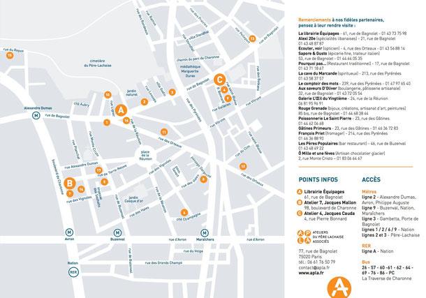 Plan  des  Ateliers d'artistes participants aux Portes ouvertes le 5 et le 6 décembre