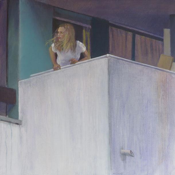 Mehrzad Najand - la fille au balcon - 50x50cm -