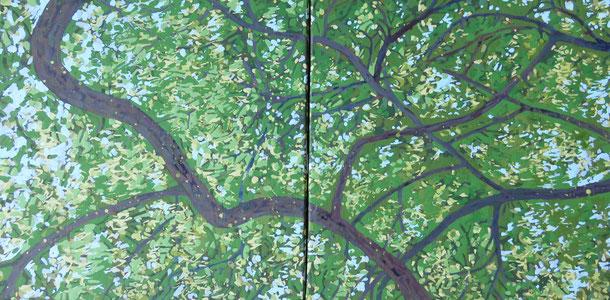Françoise Trotabas - lumière dans les arbres -  2015 - acrylique sur toile