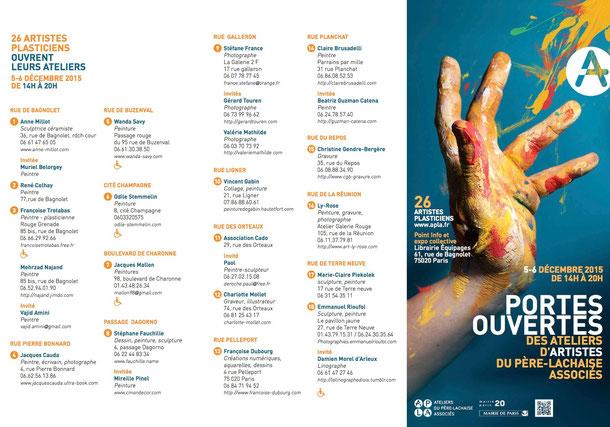 Liste des artistes participants aux PORTES OUVERTES ( A.P.L.A) le  5 et 6 décembre 2015