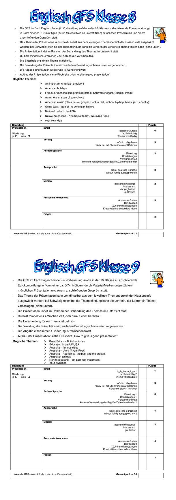 Gfs In Englisch Realschule Erbach