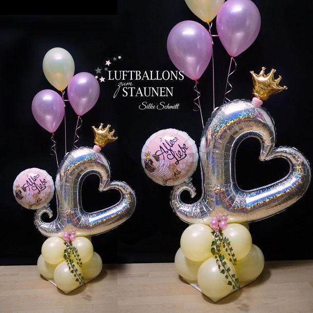 Ballon Luftballon Heliumballon Bouquet Prinzessin Mops Krone Herz XXL riesig Geschenk Überraschung Deko Dekoration Geburtstag Party Kindergeburtstag Mitbringsel Überraschung Efeu süß glitzer Glitter Versand