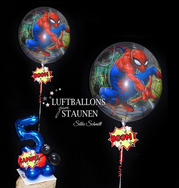 Bubble Ballon Luftballon Heliumballon Spiderman Hero Helden Spinne Geburtstag Party Kindergeburtstag Deko Dekoration Mitbringsel Geschenk Versand Boom Peng Zahl mit Namen personalisiert Personalisierung Junge