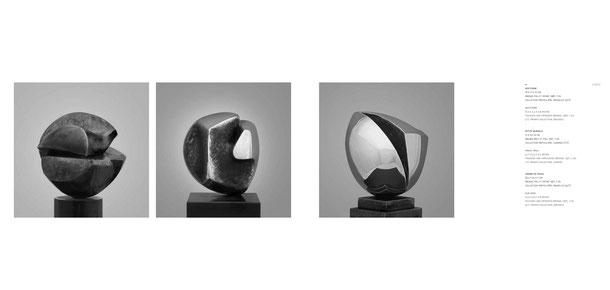 Jean-Pierre GHYSELS, sculpture nocturne 16 x 11 x 10 cm bronze poli et patiné, 1981, 7 ex. — sculpture petite muraille 12 x 9 x 9 cm bronze brut et poli, 1971, 7 ex. — graine de soleil 8,5 x 7,5 x 7 cm bronze poli et patiné, 1971, 7 ex.