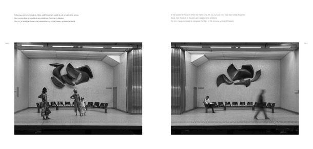 Jean-Pierre GHYSELS, sculpture last migration I 500 x 700 cm cuivre battu, 1977 station de métro « botanique » - quai gauche ministère de la région de bruxelles-capitale — last migration II 500 x 700 cm cuivre battu, 1977, quai droit