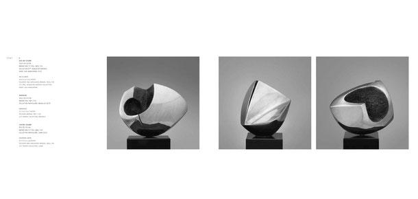 Jean-Pierre GHYSELS, sculpture sur une courbe 12,5 x 14 x 9 cm bronze brut et poli, 1973, 7 ex. —sculpture insidieuse 14,5 x 13 x 12 cm bronze poli, 1971, 7 ex. —sculpture contre-courbe 16 x 16 x 10 cm bronze brut et poli, 1974, 7 ex. collection partic.