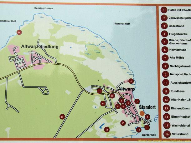 Karte von Altwarp Siedlung und Hafen