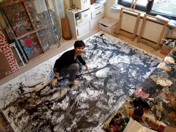 Abstrakte Kunst schwarz weiß