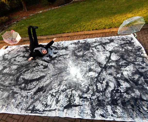 großes xxl abstraktes schwarz weiss Bild