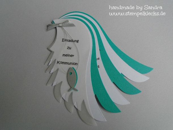 Flügeleinladung Zur Kommunion Stempeln Stanzen Und