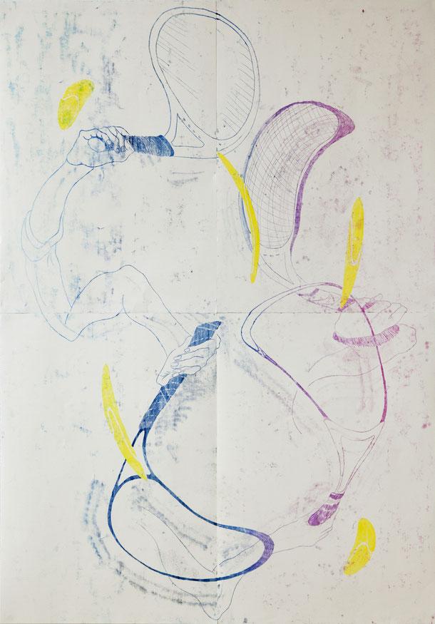Monotypie, Ölfarbe auf Papier, 140 x 200 cm (4-teilig), 2016