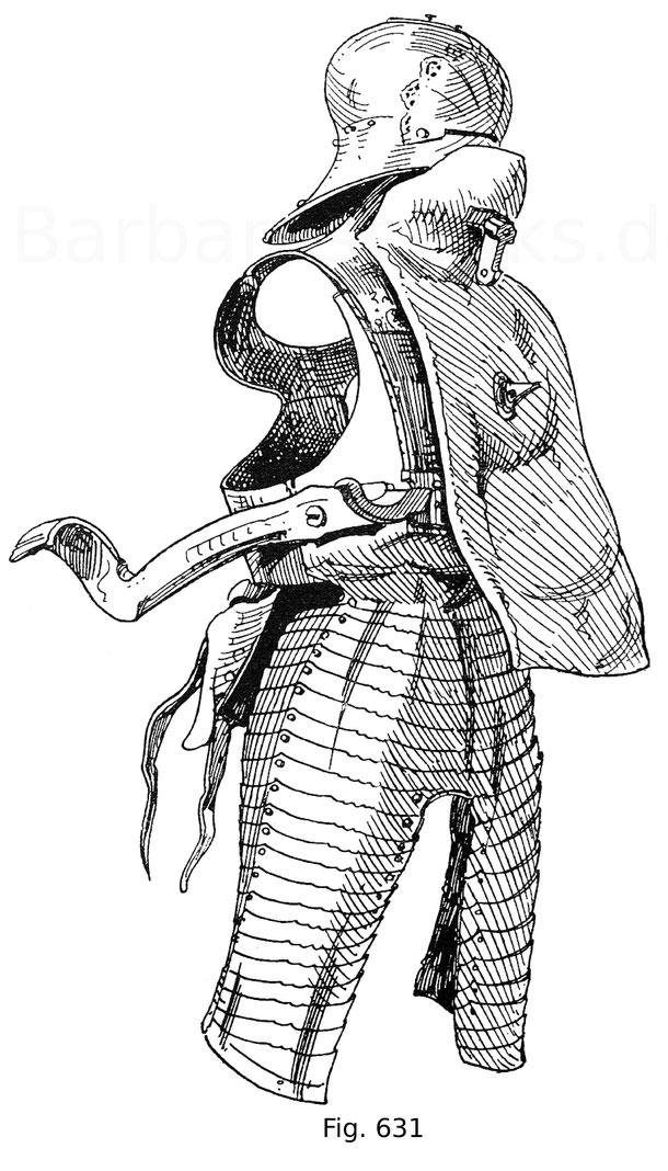 Fig. 631. Rennzeug zum Anzogenrennen mit aufgeschraubter Renntartsche. Ende 15. Jahrhundert. Vordere Ansicht.