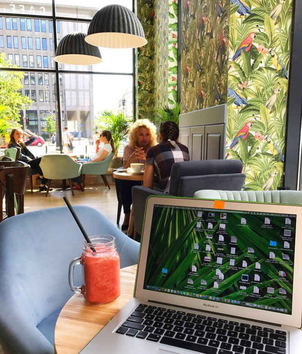 working remotely from the Etno Cafe in Warsaw