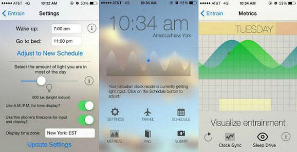 Entrain - мобильное приложение для минимизации джетлэга