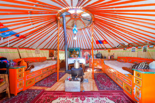 Inside of the Mongolian yurt in Dresden, Germany