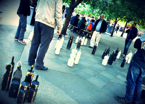 Unusual thing to do in Stockholm is to play gian chess on the street