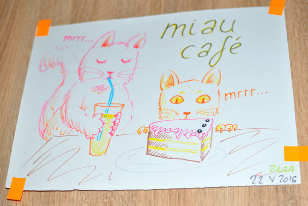 Cat Cafe Warsaw, Miau Cafe Warszawa, eating and drinking with cats
