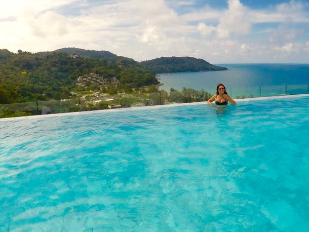 Enjoying the infinity pool in Foto Hotel, Phuket