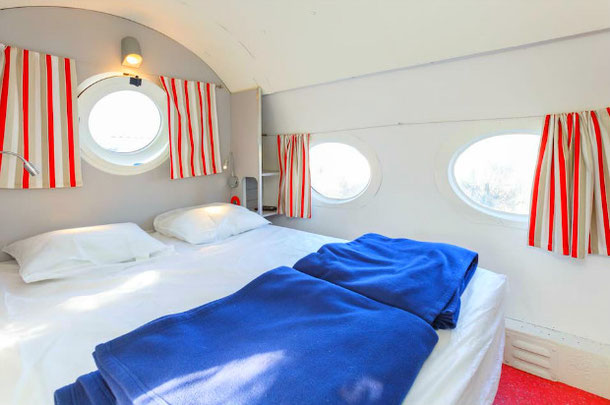 Bedroom in the airplane house on airbnb