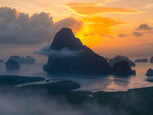 Sunrise at the Phang Nga Bay