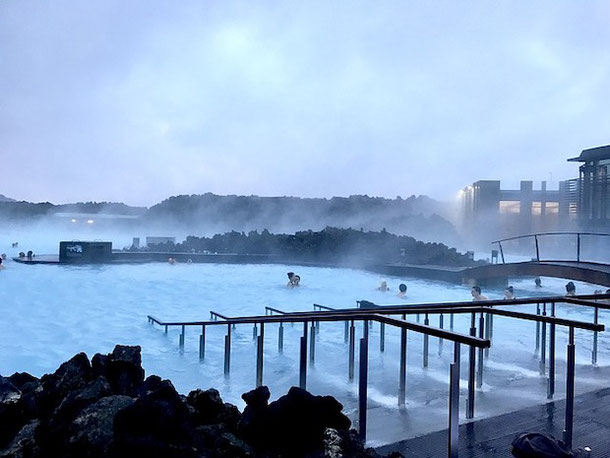 Blue Lagoon in Iceland with a child
