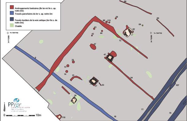 1. Extrait du plan de la fouille de Templeuve-en-Pévèle, Rue Grande Campagne. Vue au 250e de la zone de la nécropole gallo-romaine bordant l'axe routier gallo-romain. © DAO, E. Gillet -Inrap d'après les données topographiques de F. Audouit -Inrap. RGF93La