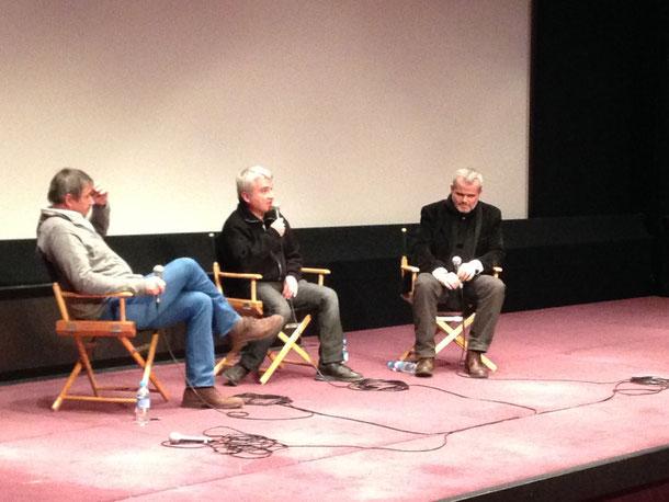 Marc Azema avec Pascal Cuissot et Laurent Mannoni, directeur scientifique du patrimoine de la Cinémathèque française