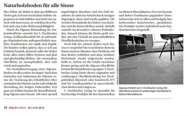 """Presseveröffenlichung in der Zeitschrift """"Holzkurier"""" im Juli 2018 - S. Fischbacher Living"""
