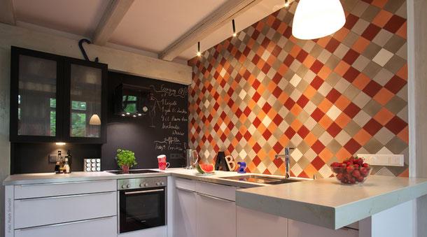 Via platten, Zementfiesen, Uniplatten, fischbacher living, rot, orange, braun, weiß, einfarbig, küche